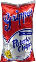 Grippos Plain Potato Chips 8oz Bag 12ct Box