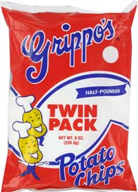 Grippos Plain Potato Chips Twin Packs 8oz Bags 6ct Box