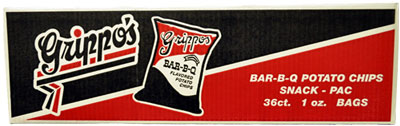 Grippos BBQ Potato Chips 1oz Bags 36ct Box